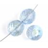 Fire polished 12mm Rich Cut Strung Transparent dyed Blue Aurora Borealis